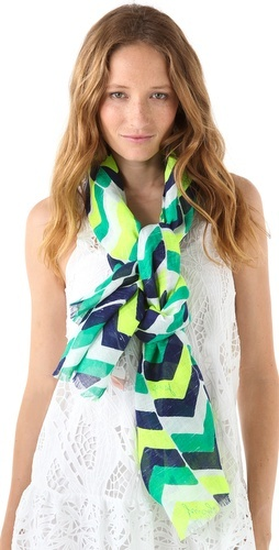 """I admit I'm puzzled, because I like the colors in this scarf and the classic #chevron design, and it's a nice natural-fabric linen-cotton blend. But it's Juicy Couture, and it says """"features logo lettering,"""" so I am trying to figure out where the logo is, because theirs tend to be pretty blatant."""