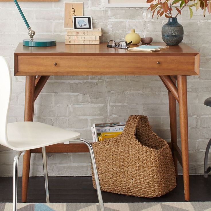 West Elm Mid Century Mini Desk Acorn From Our Office Desks Range At John Lewis Free Delivery On Orders Over