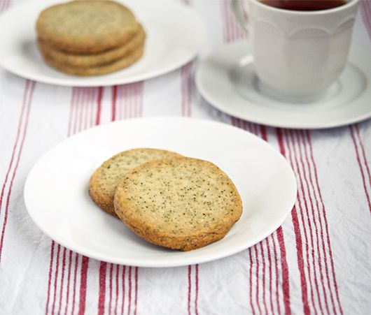 Earl grey shortbread. Grind loose earl grey tea leaves in a coffee grinder and add to sable recipe.