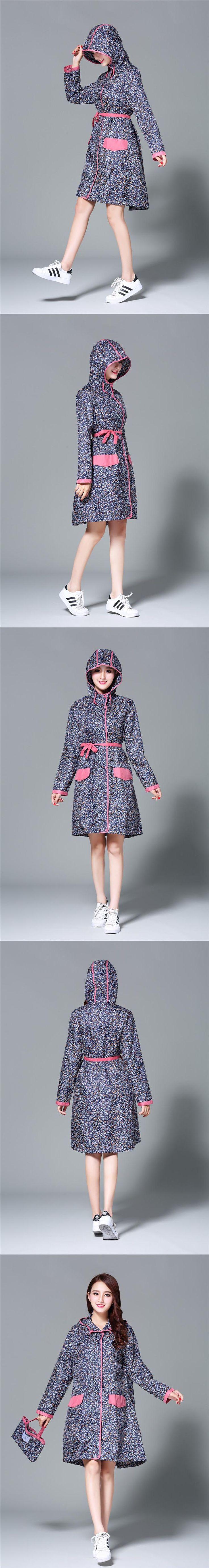 thin flower long Raincoats women poncho waterproof,Outdoors Rain Ponchos Coat Jackets Female Chubasqueros Muje with belt