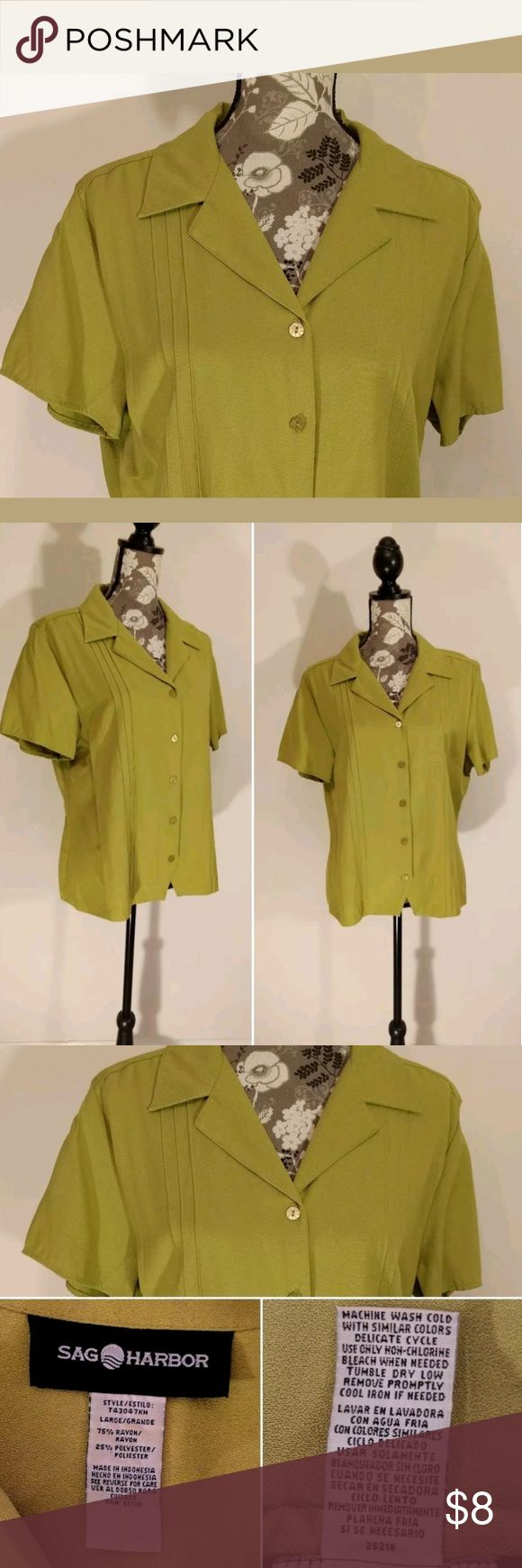 "Sag Harbor Blouse (G4)  Women's Size Large Sag Harbor Blouse (G4)  Women's Size Large  Short Sleeve?  Button Front  Tailored Pleat Details on Front and Sleeves  Lovely?Green?Color  Great Career Piece  Approx Meas: Armpit to Armpit 23"" / Length 24""  SMOKE FREE HOME Sag Harbor Tops"