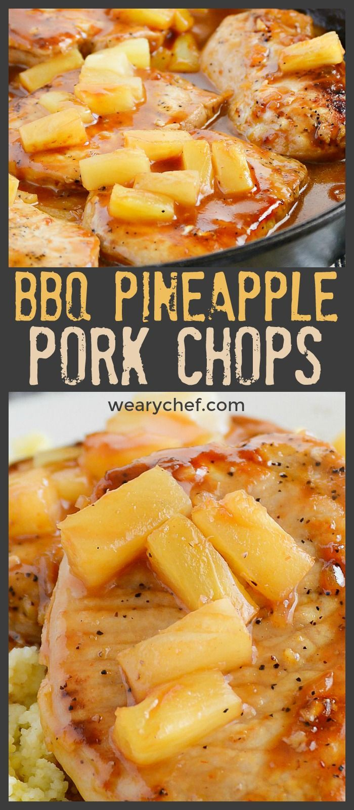 These skillet BBQ Pork Chops with Pineapple are a delicious dinner you'll want to remember for busy nights! #pineapple #porkchops #dinner #recipe #pork #bbq