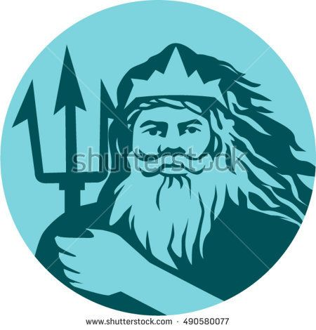 Illustration of triton mythological god holding trident viewed from front set inside circle on isolated background done in retro style.  #triton #retro #illustration