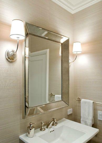 Cream Grasscloth Wallpaper Beaded Trim Beveled Mirror Modern Sconces Pedestal Sink Bath