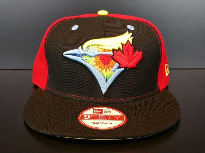 Toronto Blue Jays Snapback Exclusive Custom Black Red and Powder Starburst