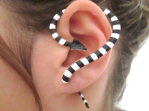 Banded Black and White California King snake ear cuff, Fake snake gauge earring                                   INSPIRATION!!