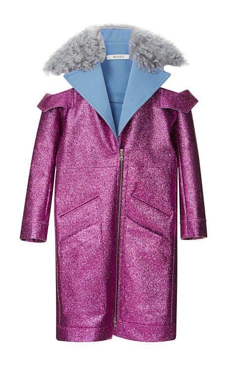 Fuchsia Glitter Coat With Shearling Trim by Rodarte - Moda Operandi