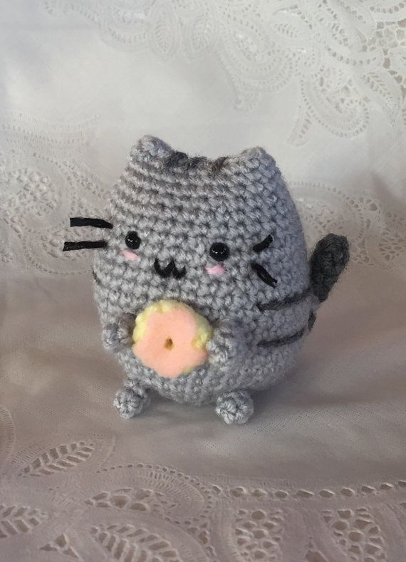Pusheen  Crocheted Donut Pusheen  Ready to Ship  cat by meddywv