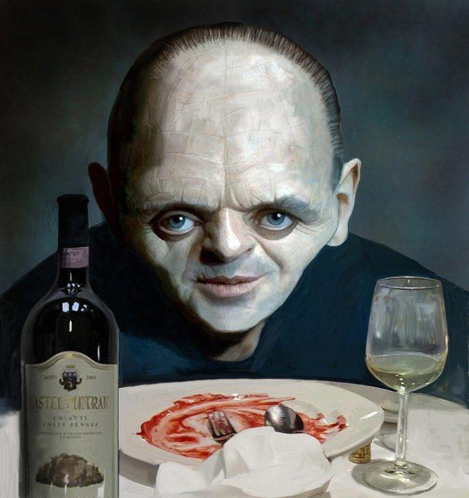Caricatura de Hannibal Lecter (Anthony Hopkins) de la película El silencio de los corderos. Shares