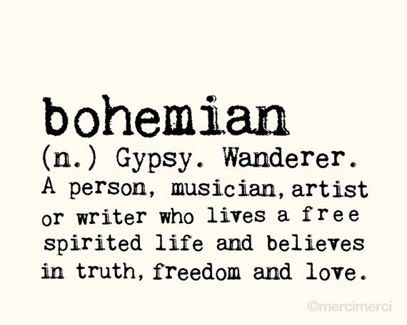Bohemian - 8x10 inches on A4 (in light cream and black) Boho Dictionary definition quote art print.