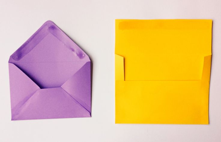 Purple and Yellow Envelopes with Homemade Envelope Glue