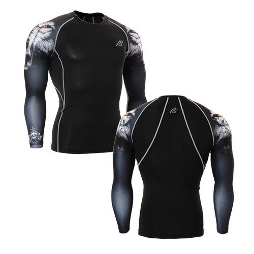 Long Sleeve Compression Base Layer Sports Tops - 14 Colors - S - 4XL