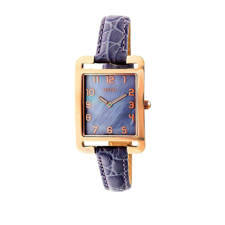"""Bertha Watches """"Marisol"""" Square Dial Leather Strap Watch - Rosetone/Lavender"""