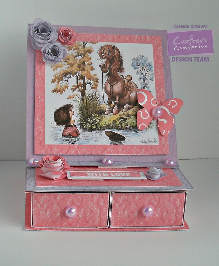 Gaynor Greaves - Crafter's Companion - Thelwell CD - Trinket Box: design 2 -  Embellishment: design 6 - Centura Pearl Hint of Silver - Core'dinations - Collall glues - #crafterscompanion #Thelwell