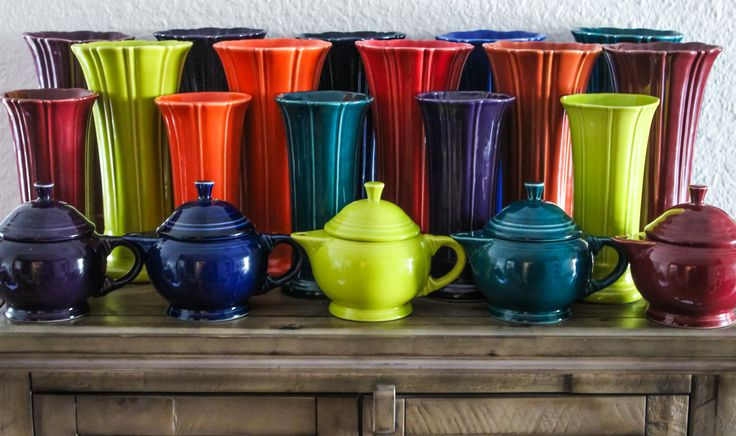 Fiesta Medium & Small Vases + Small Teapots