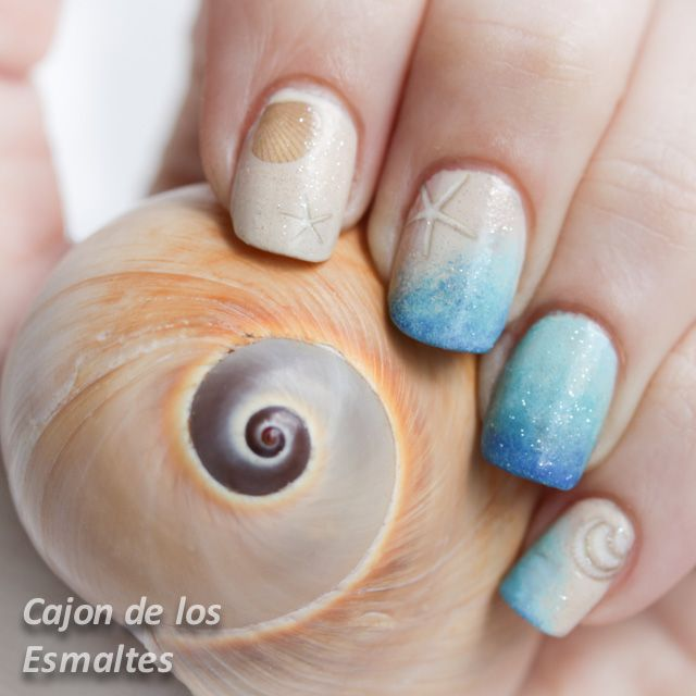 Decoración de uñas para playa -  Sand and sea. Summer nail art challenge