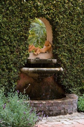 Delightful Custom Wall Fountain, Brick Basin Mediterranean Landscaping Grace Design  Associates Santa Barbara, CA