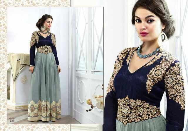 Navy blue floor length  Only for 3000 rs