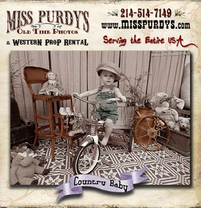 """""""Country Baby"""" Old Time Photos in Little Rock AR complete with Backdrop, Set Props, Tricycle, Old Time Rocking Horse, Country Costumes, Old Time Hats, Vintage Dolls & Vintage Teddy Bears, Vintage Step Ladder, & Accessories with complete mobile service to the entire USA!"""
