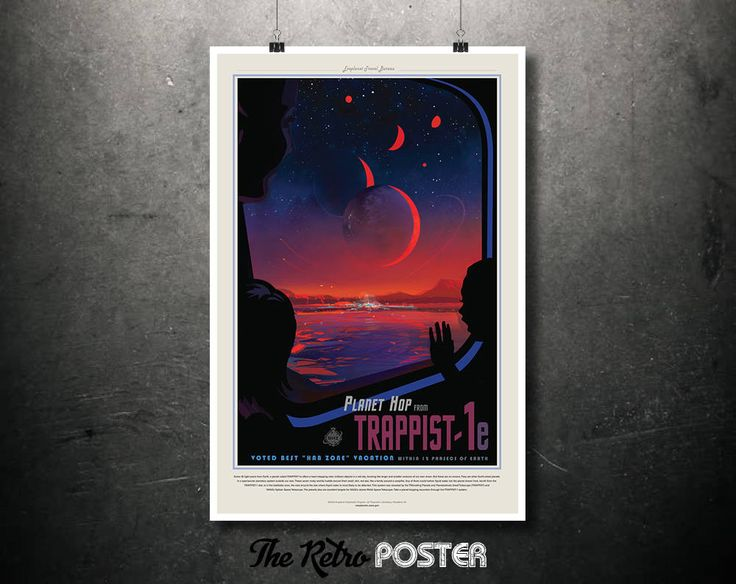 NASA Space Travel Poster - Planet Hop from TRAPPIST-1e- Father's Day Gifts for Dad, Tourism, Retro Sci Fi Fantasy Space Age Art Print Canvas by TheRetroPoster on Etsy