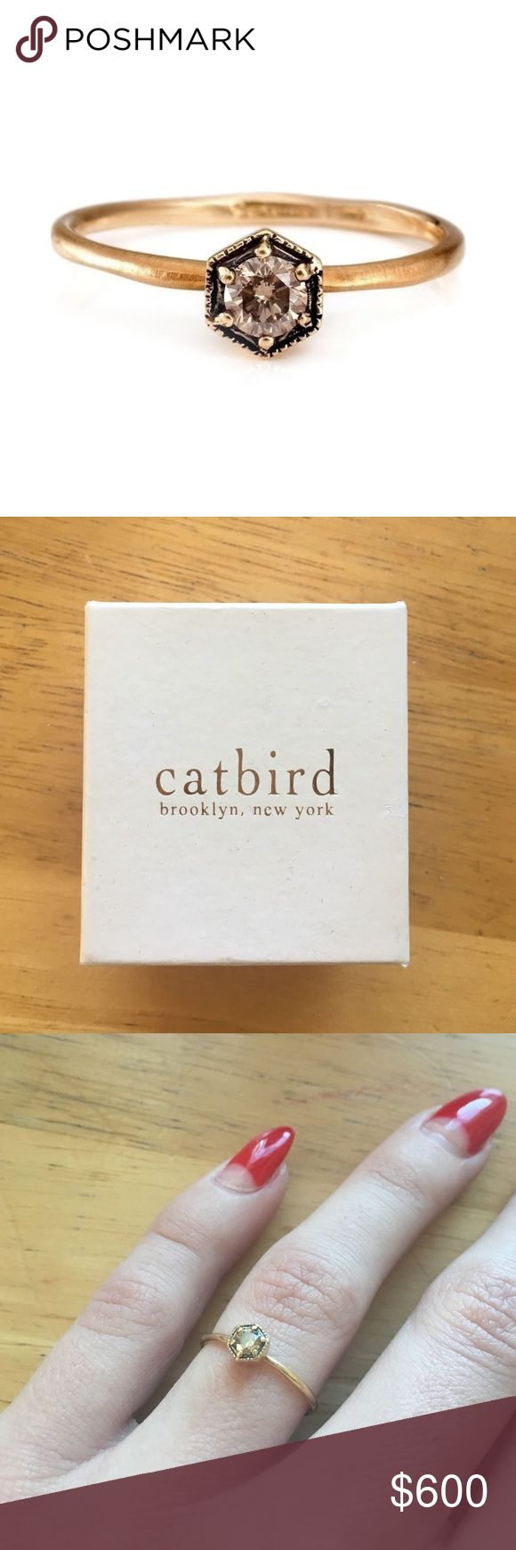 catbird satomi hexagon champagne diamond ring 6.5 catbird satomi kawakita hexagon champagne diamond engagement ring. ring is beautiful, I just got divorced. $800 new. 18k gold, diamond size is .16ct CatbirdNYC Jewelry Rings