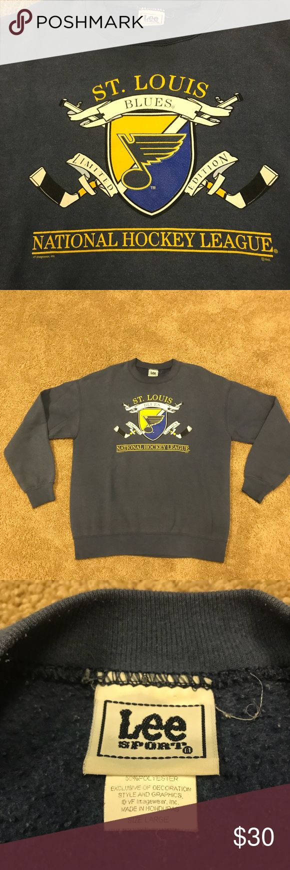 Vintage 90's St. Louis Blues NHL Hockey Sweatshirt vintage 90's Lee Sport Collectors limited edition St. Louis Blues NHL Hockey crewneck. Men's size large. In good condition! Lee Sport Sweaters Crewneck