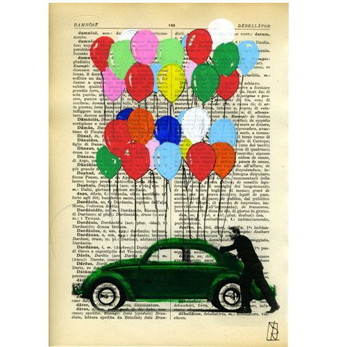 Art Beetle Bug Car  Illustration Dictionary Mixed by VincenzoRizzo, $12.00