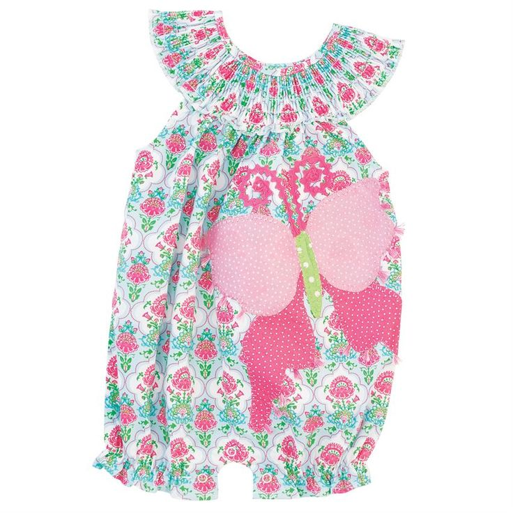 Printed poplin bubble features layered butterfly applique with tassel detail, smocked neckline with button closure, elastic leg openings and inner leg snap closure. #MudPieGift