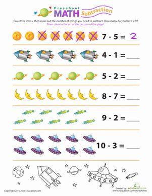 Preschool Counting & Numbers Subtraction Worksheets: Preschool Math: Stellar Subtraction