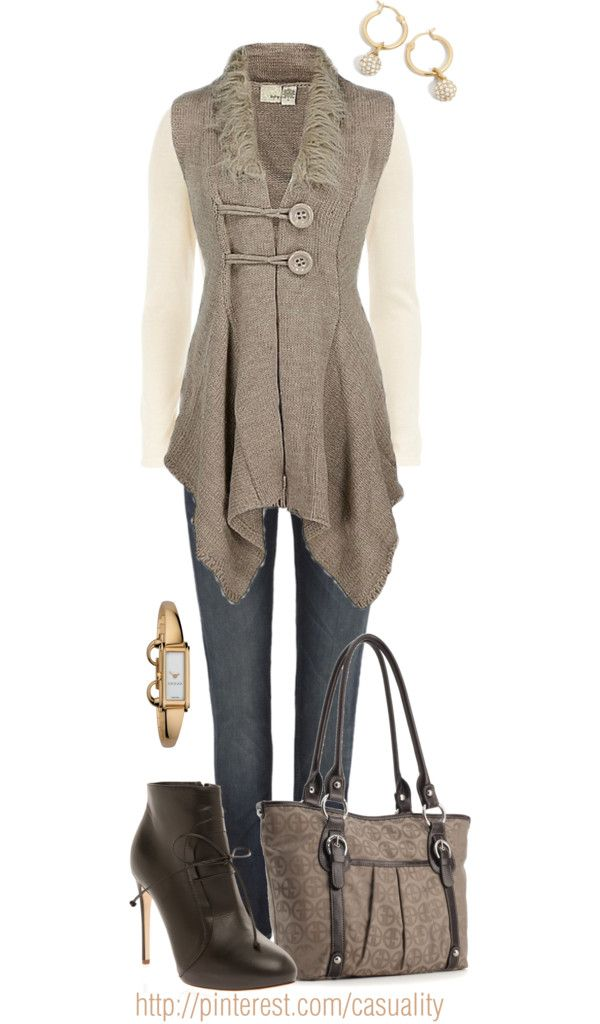 """Sleeveless Buttoned Cardigan & Laced Boots"" by casuality on Polyvore"