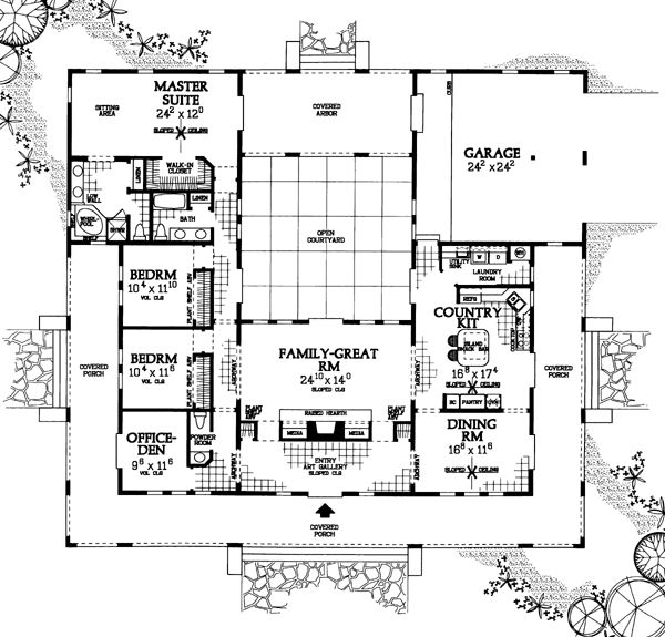 Prairie style southwest house plan 90268 exterior and house for Prairie style floor plans