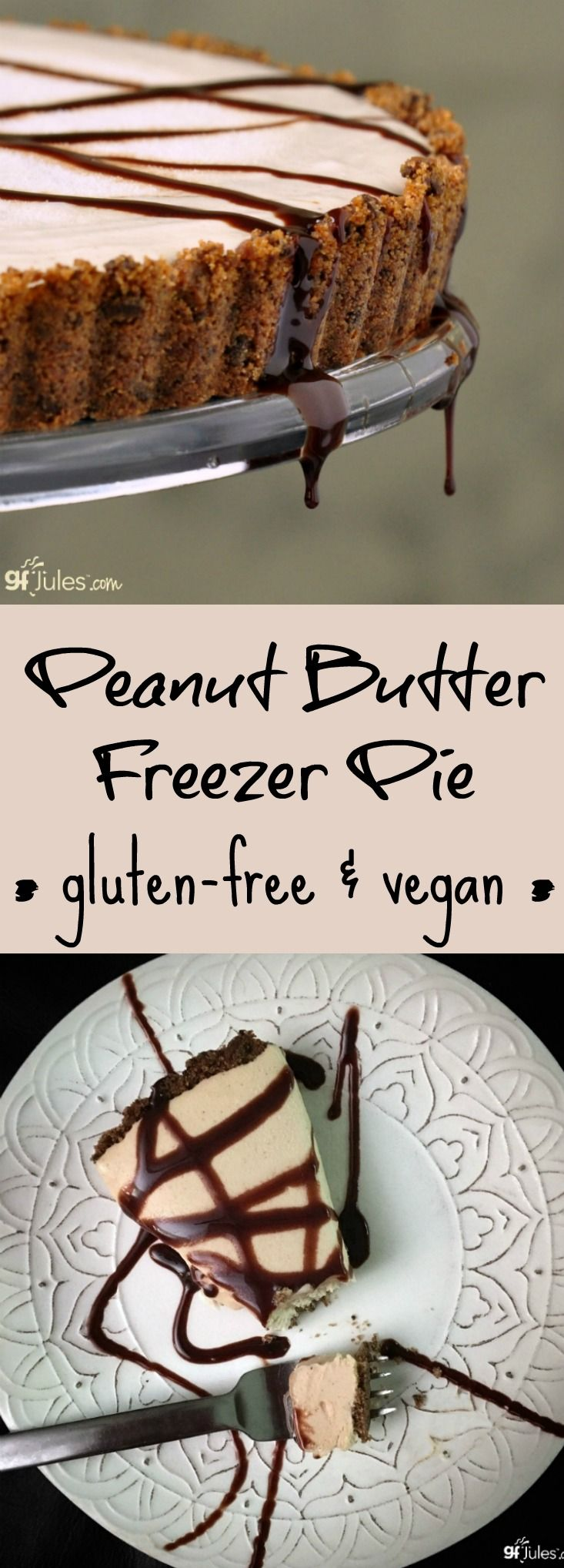 Peanut Butter Freezer Pie. Gluten-Free and Vegan and totally delicious! gfJules