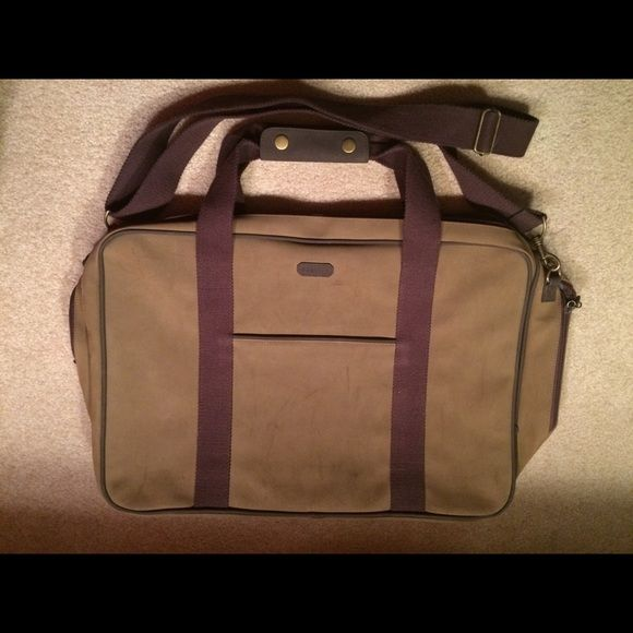 Aramis Camel Brown Travel Bag Large. Measures about 30 inches across. Suede Like Material. Zipper Closure Aramis Bags Briefcases