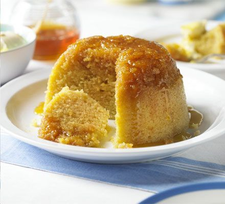 A syrupy basin pudding with a moist sponge and sticky sauce- a Great British tradition with retro ch