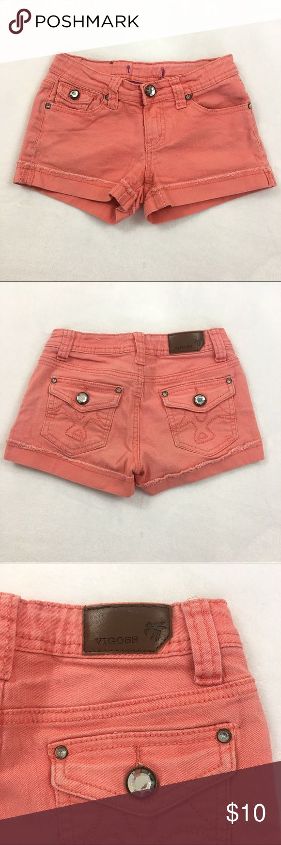 Vigoss Jeans Girls Denim (Peach) Shorts Size 10 (PO001) • Vigoss Jeans Girls Denim (Peach) Shorts Size 10. Embellished & Distressed style. Super cute! Color: Peach. Note one 'Vigoss Jeans' tag removed. See Photos for details. Vigoss Bottoms Shorts