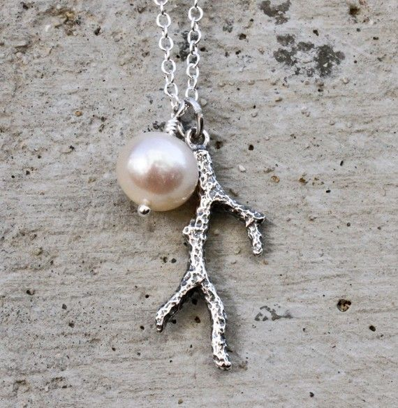 Silver Coral and Pearl Charity Necklace by chainsofgrace on Etsy, $48.00, All Chains of Grace jewelry benefits the amazing charity, Love146, and comes in its own gift box with its description and card explaining your purchase helps a great cause-perfect for gifting!