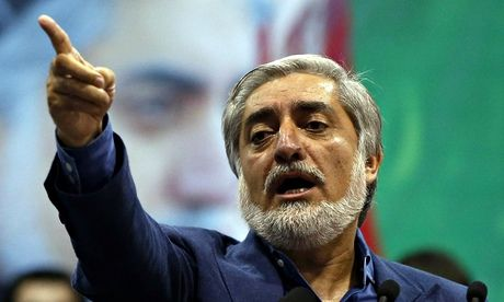 Disputing preliminary results … Afghan presidential candidate Abdullah Abdullah speaks to supporters in Kabul on Tuesday. Photograph: Omar S...