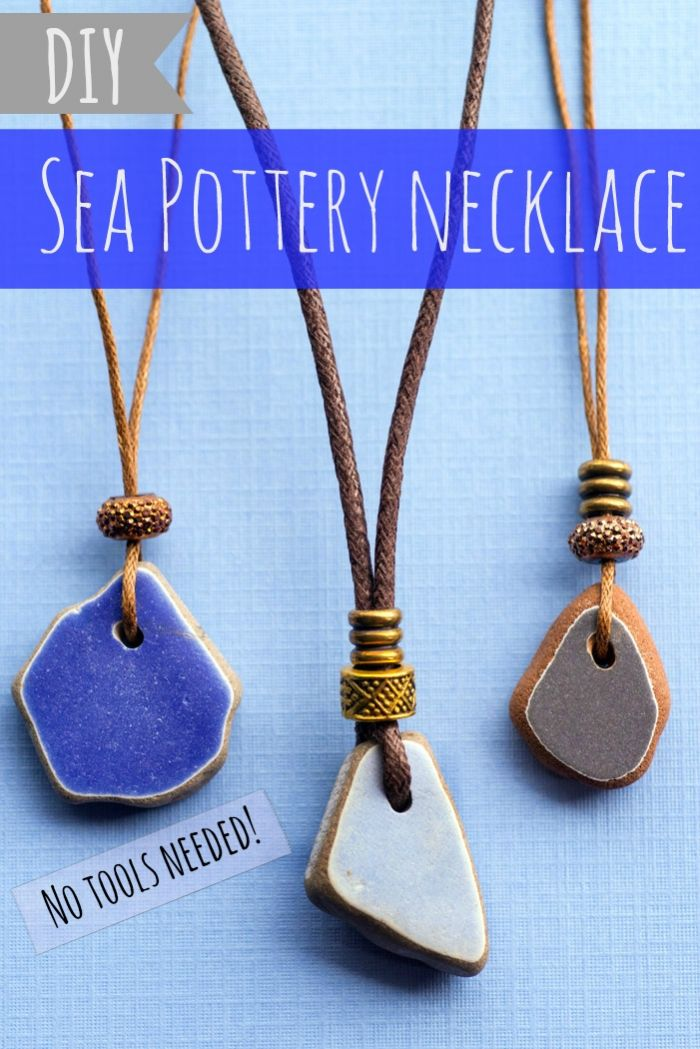 DIY Sea Pottery Necklace with Adjustable Sliding Cord