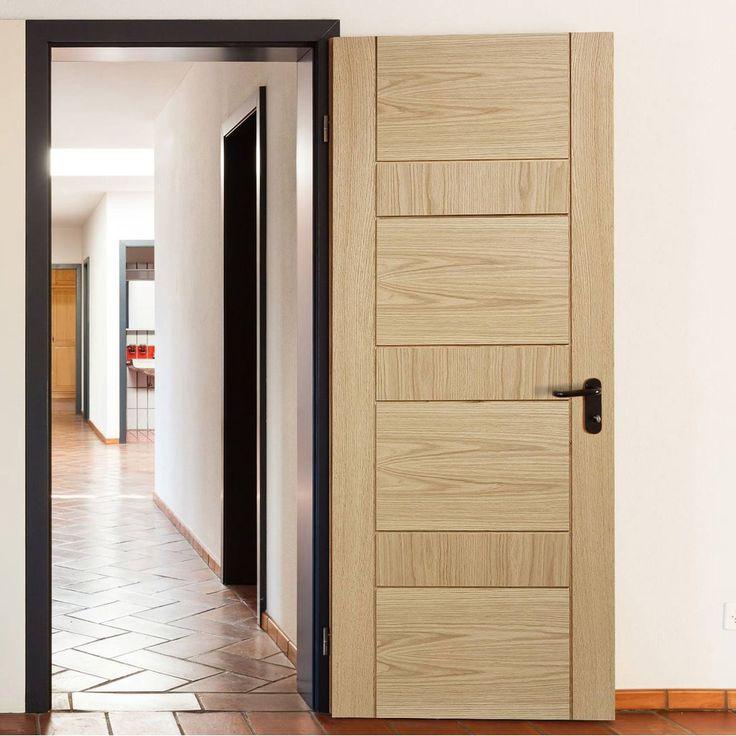 Door Set Kit, Edmonton Oak Flush Door - Prefinished. #unfinisheddoorsetkit #moderndoorsetkit #moderndoor