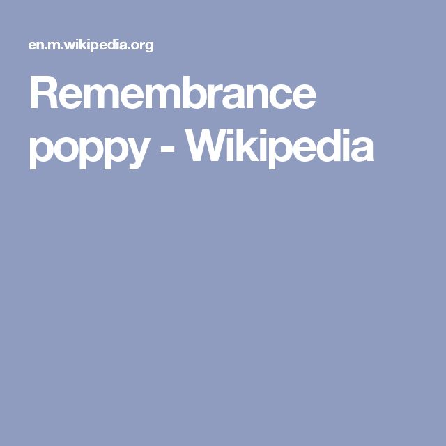 Remembrance poppy - Wikipedia