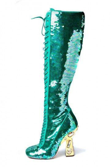 Stivali con applicazioni verdi Miu Miu