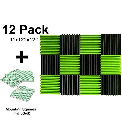 """(12 Pk) 1""""x12""""x12"""" Green / Charcoal Soundproofing Foam Acoustic Tiles Studio Foam Sound Wedges with (24) Double-sided Adhesive Mounting Tabs  Foam panels HIGHEST point reaches 1 inch height. Its LOWEST point reaches 3/4 inch in height. / Overall Noise Reduction Coefficient (NRC): 0.40  Smaller panels offer more options for placement and design / Pack of 6. Covers 6 sq. ft. (Covers 1 sq. ft. per sheet)  Good for Recording Studios, Vocal Booths, Home Theathers  Reduces standing waves and..."""