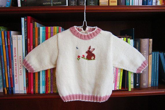7db6f477922e Hand knitted baby girl sweater with hand embroidery