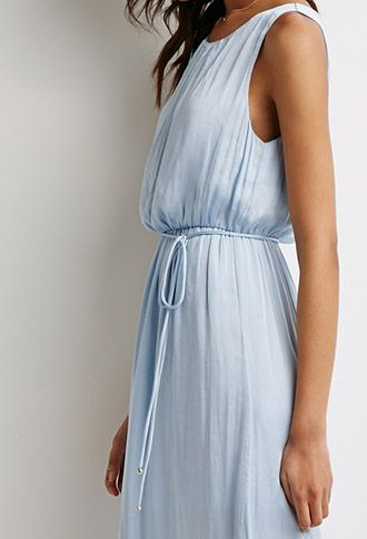 Belted Satin Maxi Dress - pair it with silver sandals !