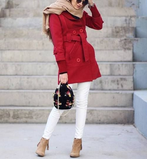 pinterest@adarkurdish-red coat with white jeans-How to wear colorful hijab in winter – Just Trendy Girls