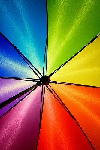 under a rainbow umbrella