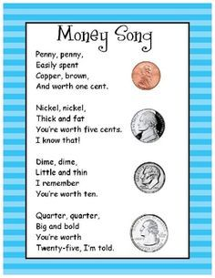 money song ... Need to do for M, he just cannot remember money/value!
