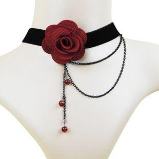 2015 Europese En Amerikaanse Mode Rode Rose Imitatie Parel Ketting Vrouwelijke Retro Zwart Kant Trouwjurk Accessoires Groothandel