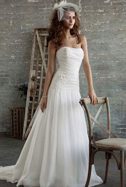 Американские свадебные платья с аппликациями на талии