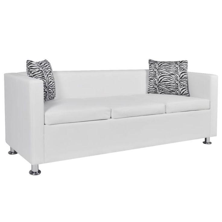 3 Seat Faux Leather Sofa w/ Throw Pillows in White   Buy Leather Sofas